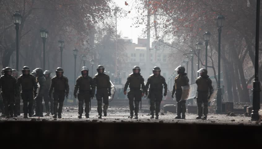 SANTIAGO, CHILE - AUGUST 9: Chilean riot disperse protesters during a student strike on August 9, 2011 in Santiago, Chile. - HD stock footage clip