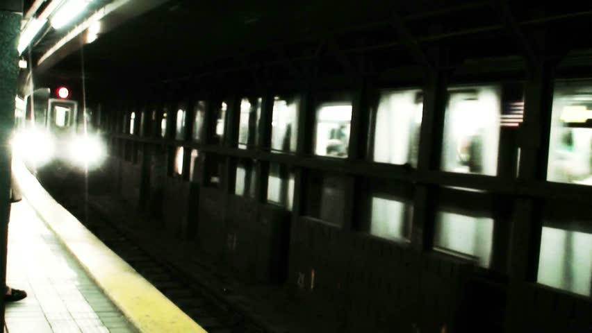 New York City subway train arrival - HD stock video clip
