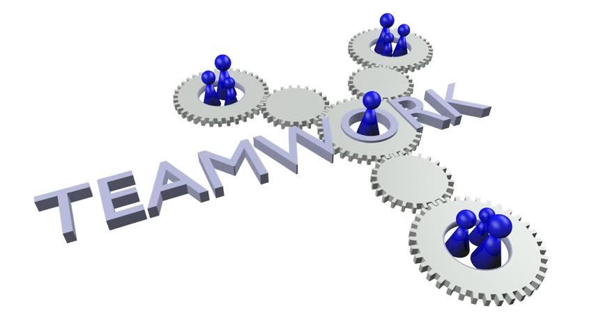 3d rendered quotteamworkquotlogo with figures and gears blue