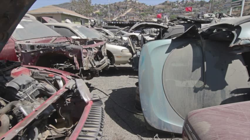 Cars in Junk Yard - HD stock footage clip
