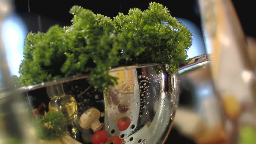 Cooking salad sequence. Vegetables table- top. - HD stock video clip