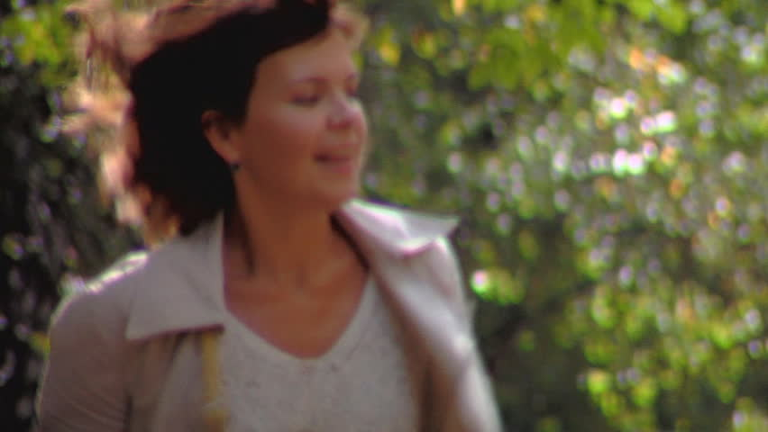 Happy Mum and the daughter run on alley - HD stock footage clip