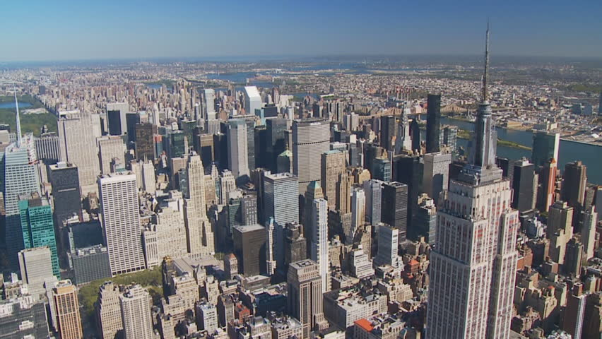 An aerial view of Manhattan is shown October 10, 2008 over New York City. Helicopter tours over Manhattan take place daily, weather permitting.