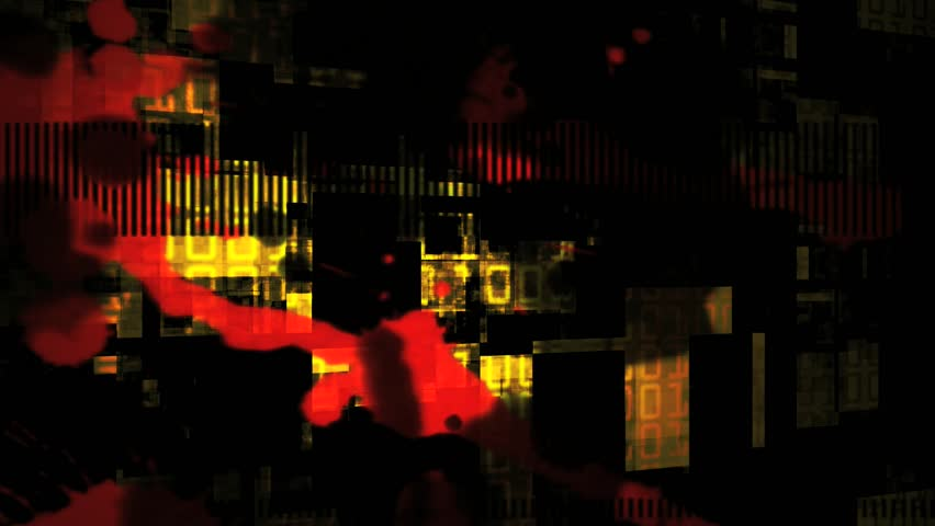 Abstract CGI motion graphics and animated background of flashing red and yellow on a black background morphing very organically - HD stock video clip
