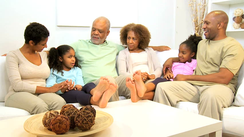 Extended african american family spending social time for American family homes