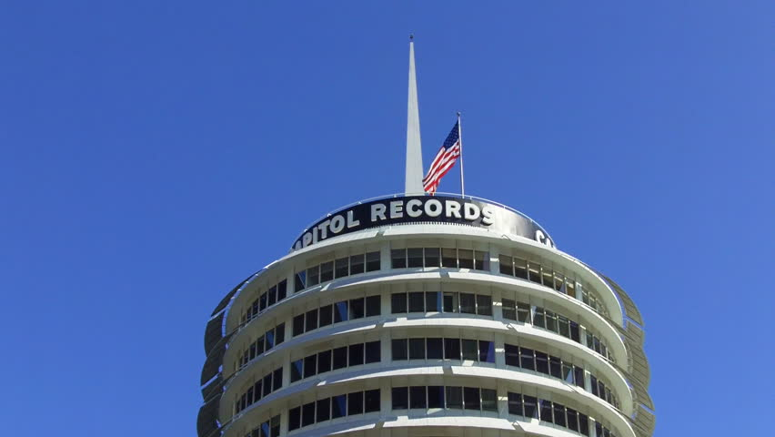 LOS ANGELES, CA/USA - 07/22/2012: The top of the Capital records building in the Hollywood District of Los Angeles is a popular, recognized landmark. Recorded on July 22nd, 2012 in Los Angeles, CA.
