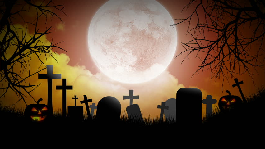 Halloween Background with pumpkins, moon and graveyard