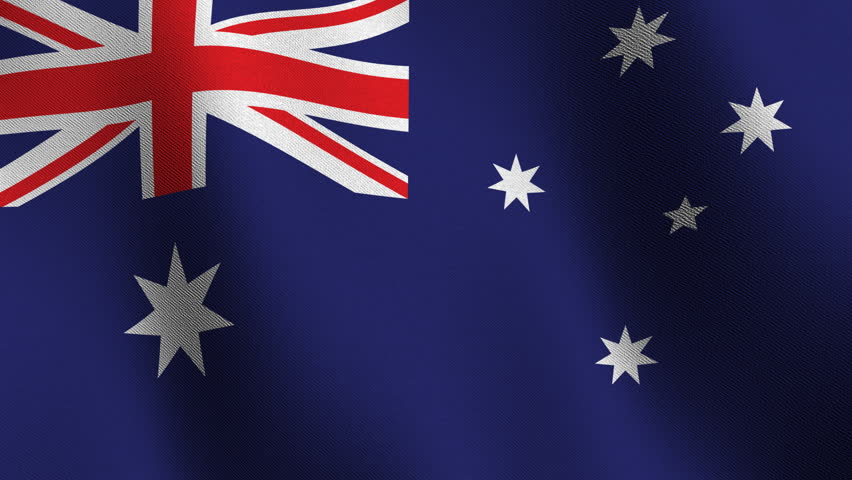 Flag of Australia waving in the wind  - very highly detailed fabric texture - seamless looping - HD stock footage clip