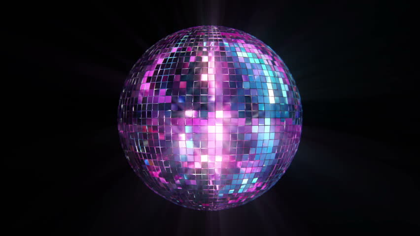 3D Disco Mirror Ball Reflecting Colorful Lights and Lasers . Seamless Loop