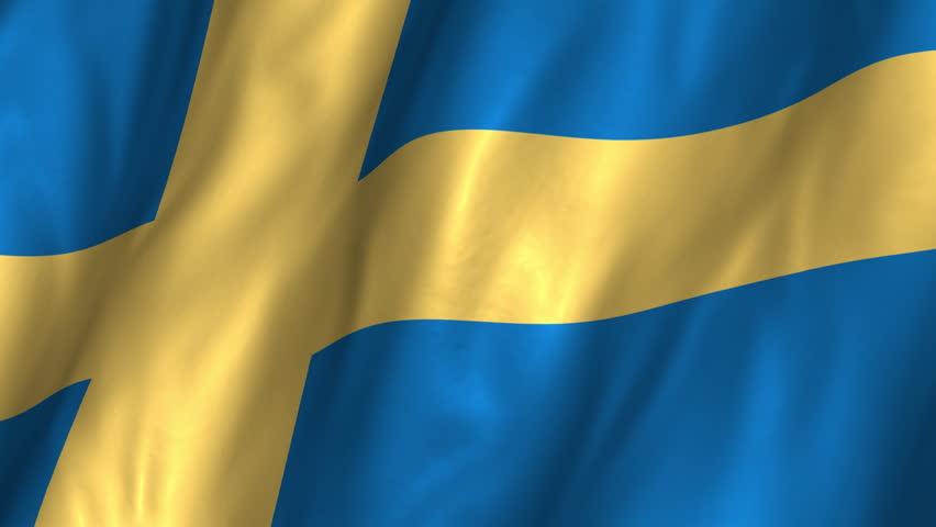 A beautiful satin finish looping flag animation of Sweden.     A fully digital rendering using the official flag design in a waving, full frame composition.  The animation loops at 10 seconds.   - HD stock video clip