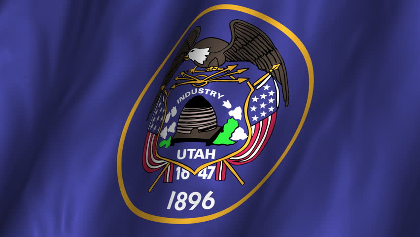A beautiful satin finish looping flag animation of Utah.   A fully digital rendering using the official flag design in a waving, full frame composition.  The animation loops at 10 seconds.   - HD stock video clip