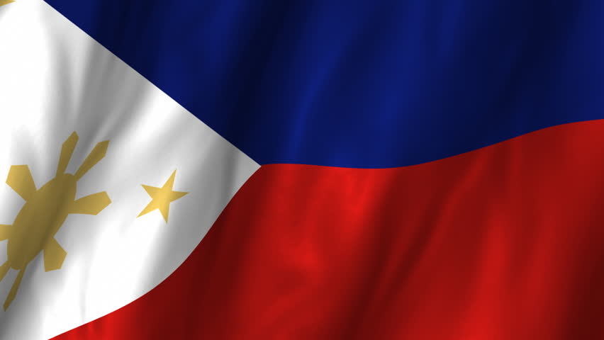 A beautiful satin finish looping flag animation of Philippines.   A fully digital rendering using the official flag design in a waving, full frame composition.  The animation loops at 10 seconds.