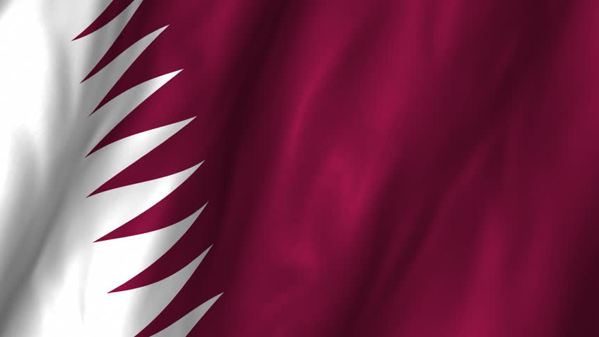 A beautiful satin finish looping flag animation of Qatar.   A fully digital rendering using the official flag design in a waving, full frame composition.  The animation loops at 10 seconds.   - HD stock footage clip