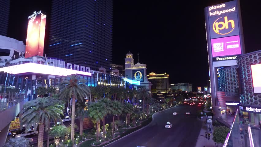 Las Vegas Boulevard - the Strip with Bellagio and Cosmopolitan - LAS VEGAS / NEVADA - APRIL 23, 2017 | Shutterstock HD Video #27094324