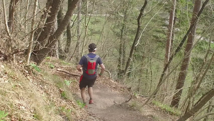 A hiking man with sports equipment running and jumping over root in spring forest. Mala Grmada, Polhograjski Dolomiti. SLO MO. | Shutterstock HD Video #27174370