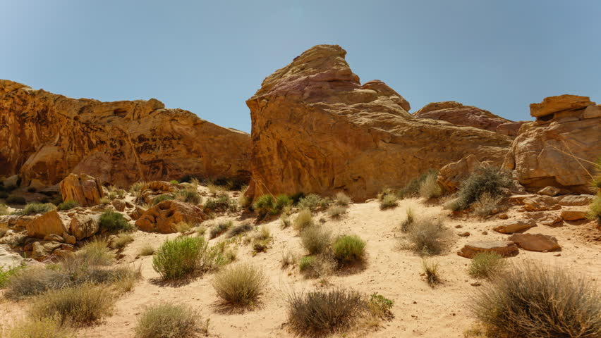 Valley of Fire Sandstone Rock Formation in Nevada Desert | Shutterstock HD Video #27190678