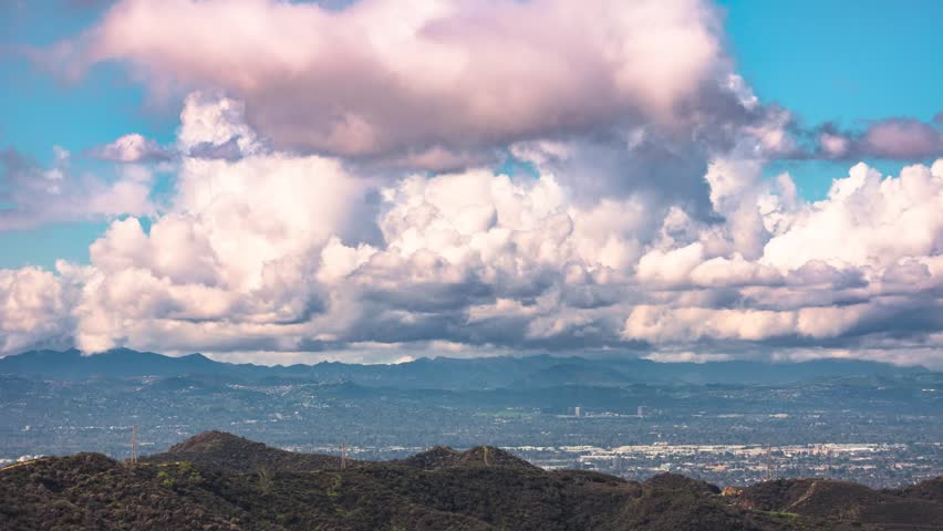 Los Angeles, California. Cumulus clouds over the San Fernando Valley. | Shutterstock HD Video #27191776