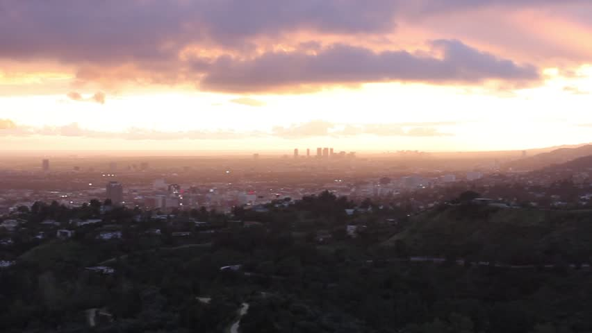 Landscape view of greater Los Angeles at sunset | Shutterstock HD Video #27198931