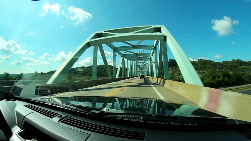 Driving on the Sewickley Bridge over the Ohio River near Pittsburgh, PA.