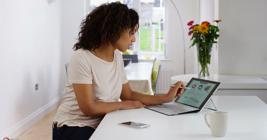 4K Worried businesswoman looking at financial graphics on computer & drawing on screen with stylus pen