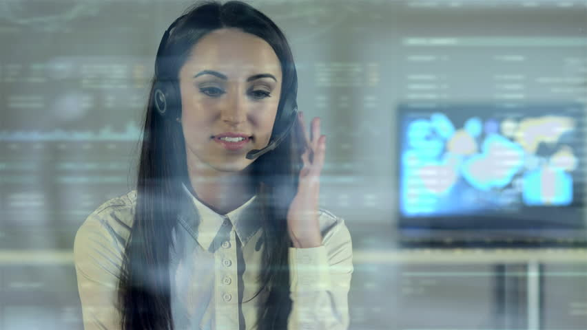The woman talk over the window in the call center