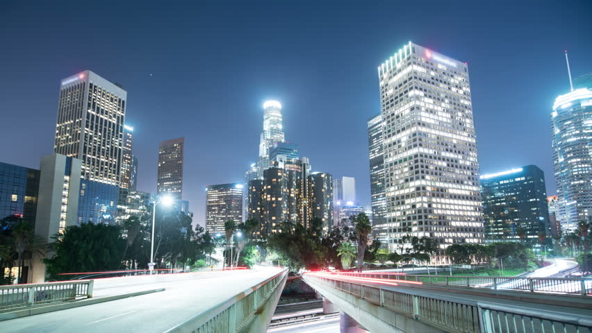 Los Angeles Downtown Traffic on Freeway Bridges 02 Time Lapse  | Shutterstock HD Video #27635440
