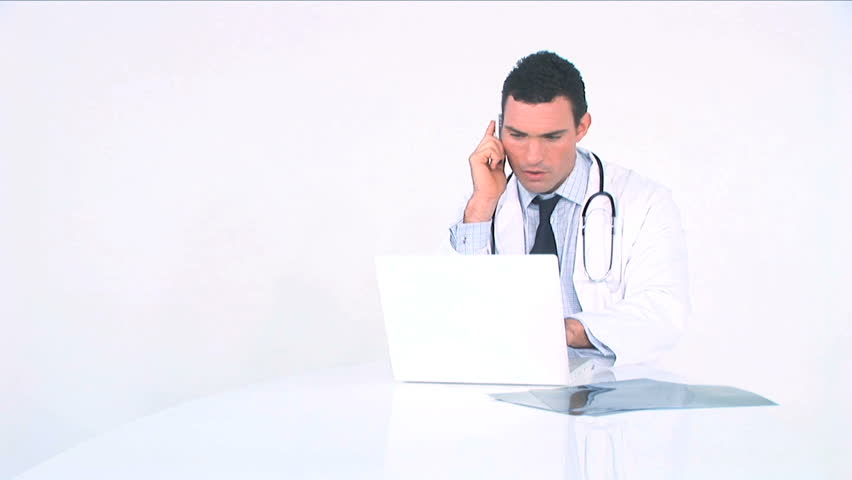 Young doctor examining medical records - HD stock footage clip