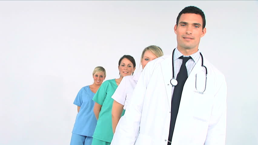 Young medical staff ready to treat patients - HD stock footage clip