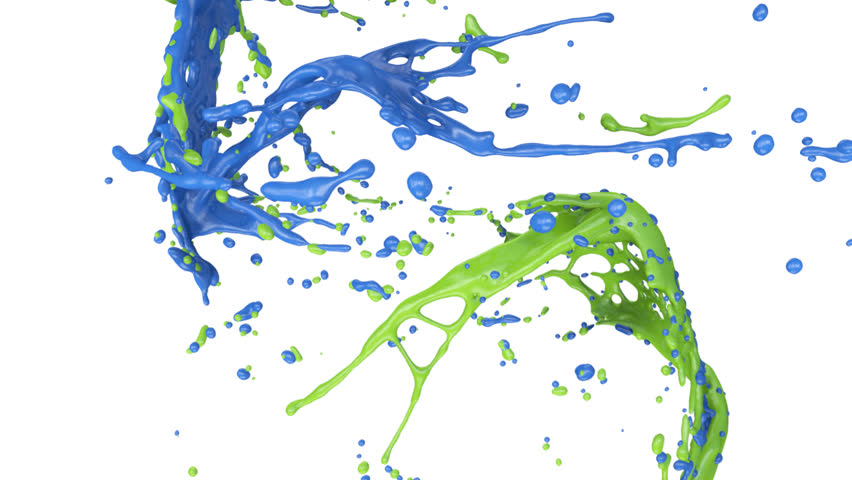 blue and green paint splashes collide in slow motion (FULL HD)