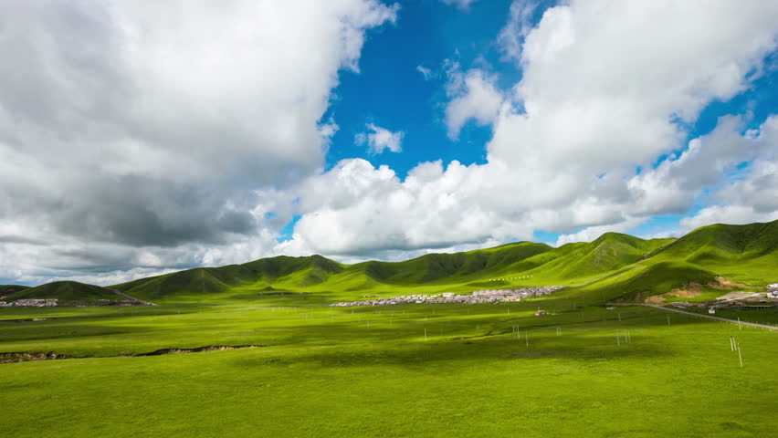 Countryside landscape-grass and sky with clouds