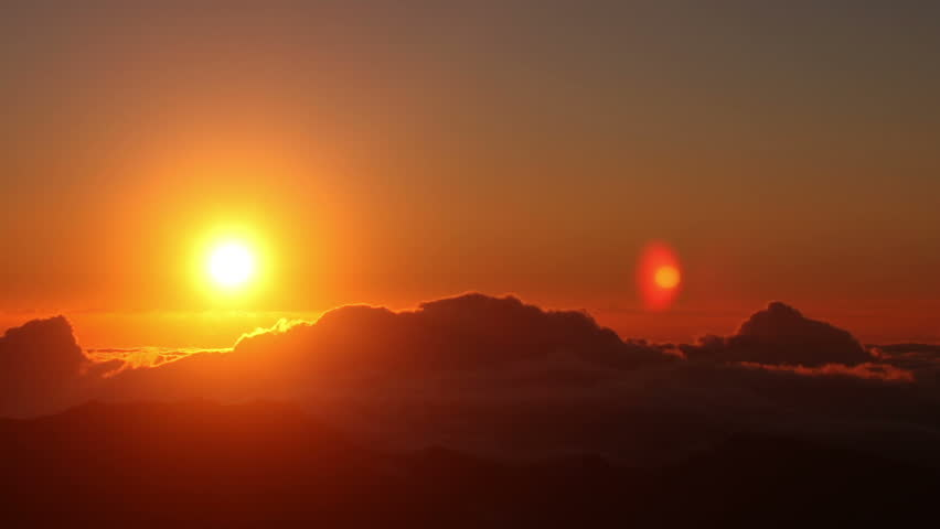 Brilliant summit dawn above flowing cloud waves, red sun disk time lapse in HDR  #2786665
