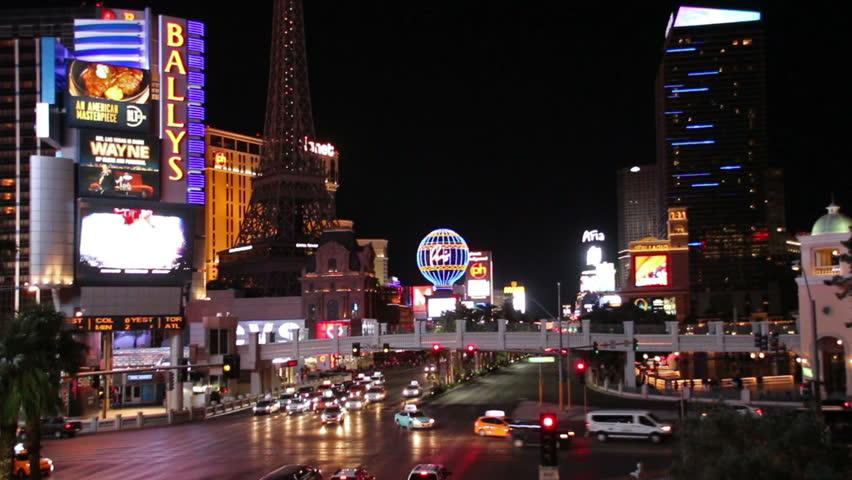 Las Vegas, USA - May 19, 2017: Nightlife on Las Vegas Strip Boulevard at Ballys | Shutterstock HD Video #27870196
