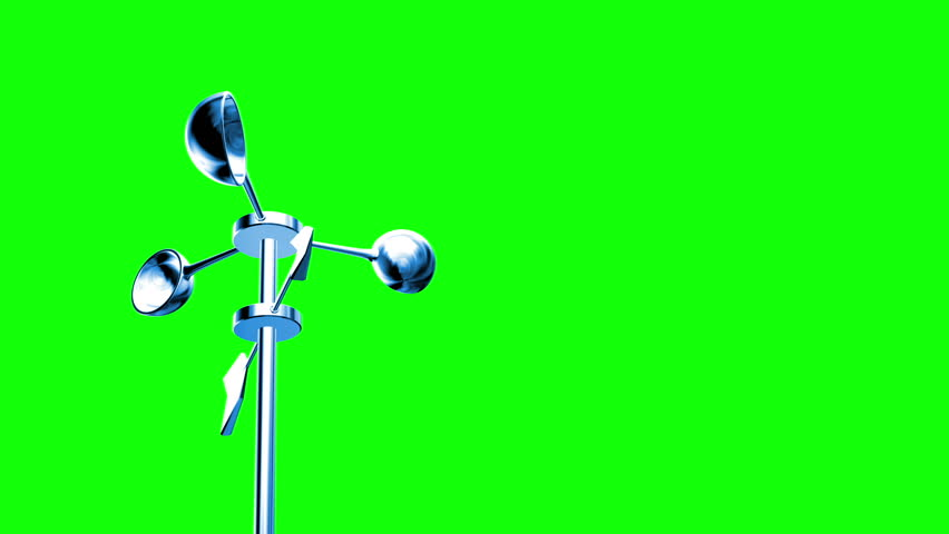 Anemometer (Loop on Green Screen). Wind Meter spinning in loop. Perfect for your own background. Seamless loop, clean mask on green screen. | Shutterstock HD Video #2791516