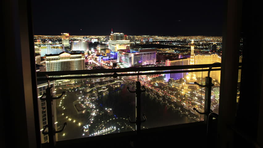 Forward Sliding Time Lapse from Las Vegas High Rise Balcony. Aerial View of City.