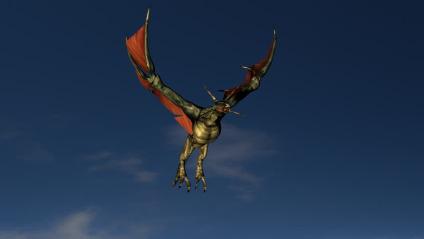 Dragon flying into the sunset. - HD stock footage clip