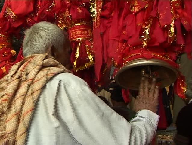 hindu temple bell closeup - SD stock video clip