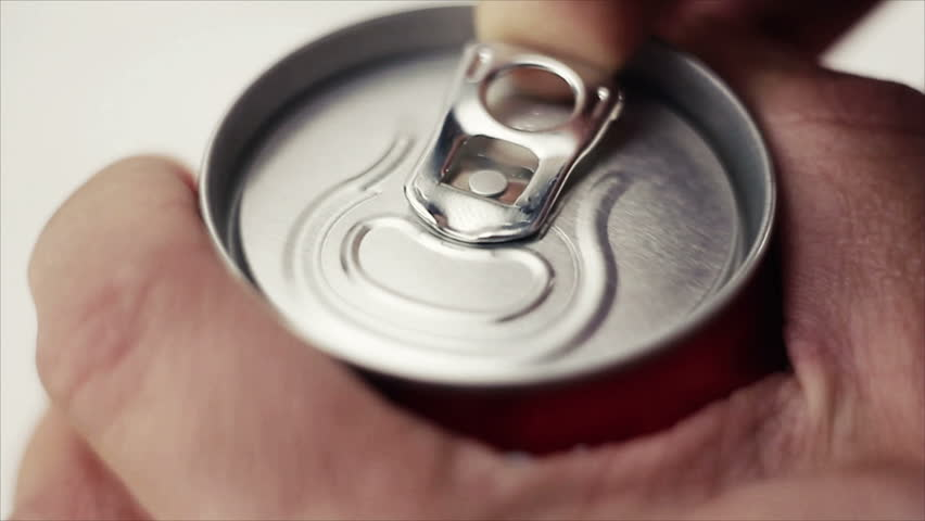 Opening can with a drink