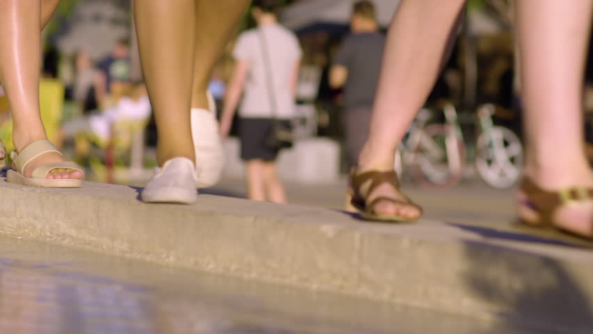 Group Of Young Women Balance/Walk/Twirl Along Fountain Wall In City Square, Closeup Of Their Feet | Shutterstock HD Video #28065685