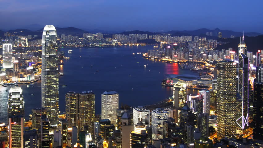 Blue Night in Hong Kong - Central District, Victoria Harbor, Hong Kong Island