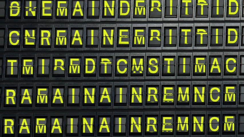 departure board spells out welcome
