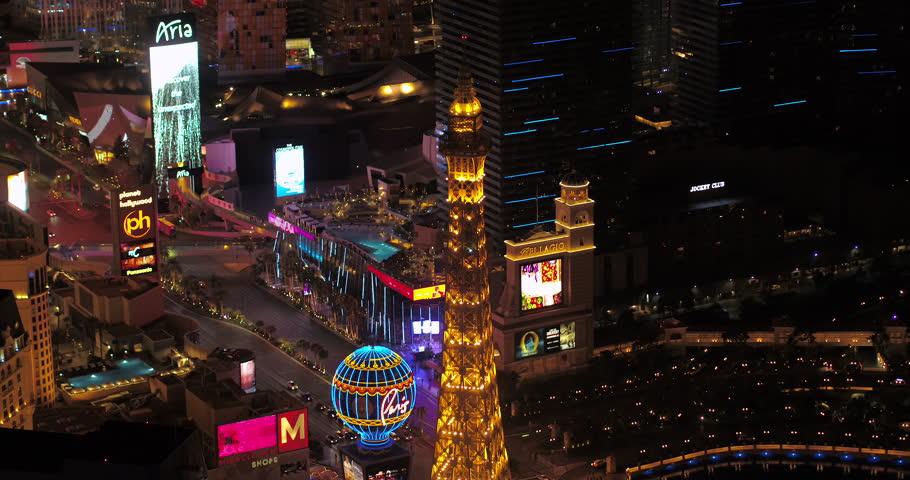 Las Vegas Aerial v46 Birdseye view flying around main strip area at night 4/17 | Shutterstock HD Video #28142644