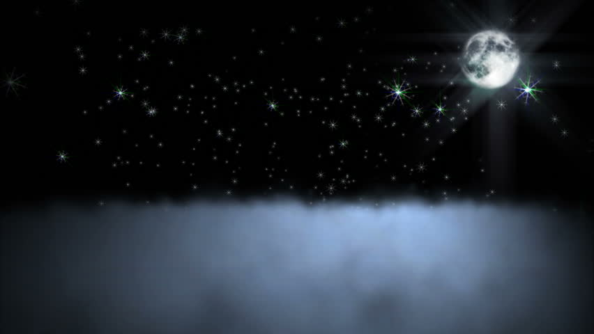 1044 Moon shining across night clouds with sparkling falling stars. See my portfolio for more Virtual Realities.