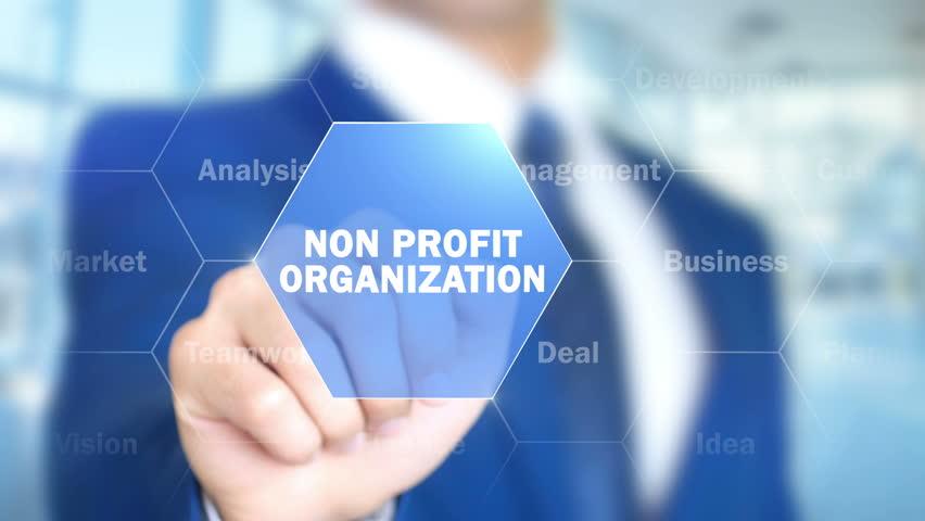 Non Profit Organization, Man Working on Holographic Interface, Visual Screen