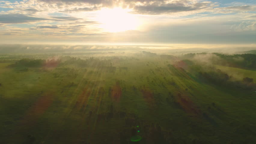 Flying back and up over green field and trees in misty sunny morning. Aerial view | Shutterstock HD Video #28273603