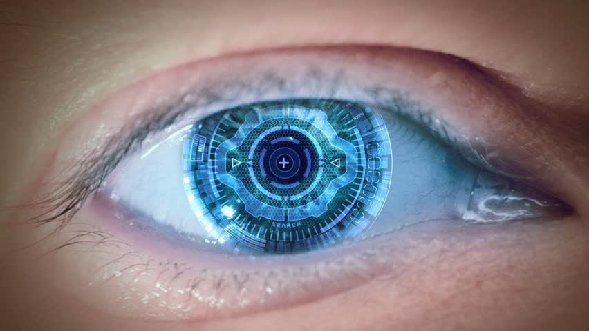Close up to eyeball with futuristic 3d targeting system. Loop.