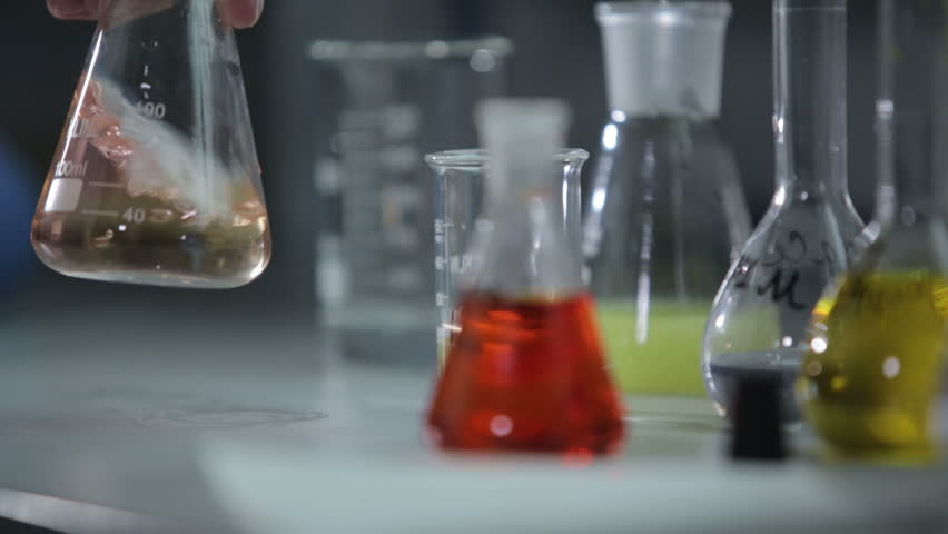 Multicolored liquids and substances in the laboratory - HD stock footage clip