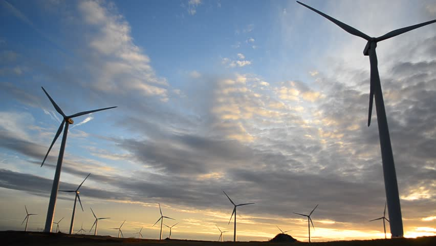 Wind turbines at sunset - HD stock video clip