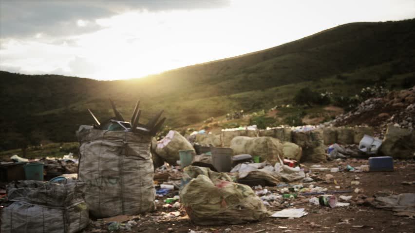 Nature Contamination. Valley full of Trash and Garbage - HD stock video clip