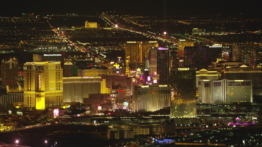 Las Vegas, Nevada circa-2107, Aerial view of Las Vegas Strip at night. Shot with Cineflex and RED Epic-W Helium.   Shutterstock HD Video #28477849