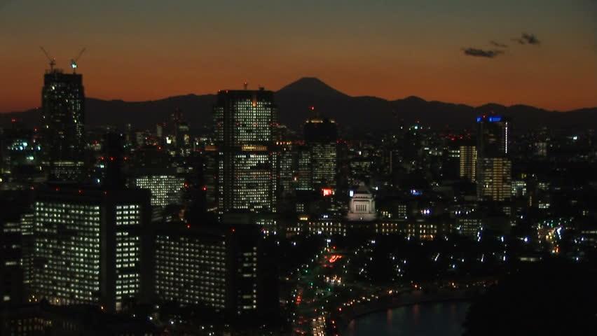 Tokyo at dusk - HD stock footage clip